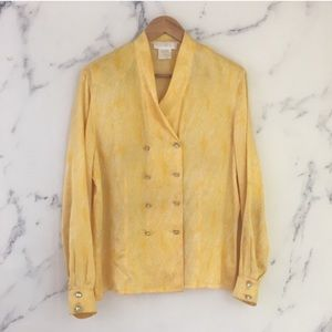 {Vintage Escada} 1980s Double-Breasted Silk Blouse